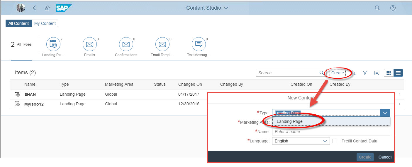 Hybris Marketing Content Studio: Not able to create Email